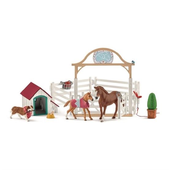 Schleich, 42458 Horse Club - Hannahs gästhästar med tiken Ruby