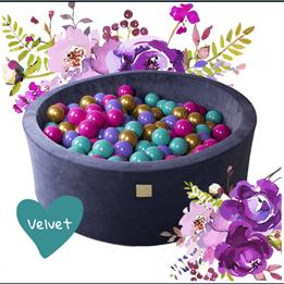 Meow Baby - Bollhav Sammet med 250 Bollar - Blommor - 30 Cm