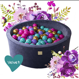 Meow Baby - Bollhav Sammet med 250 Bollar - Blommor - 40 Cm