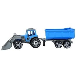 Plasto, Traktor med frontlastare & släp - Blå