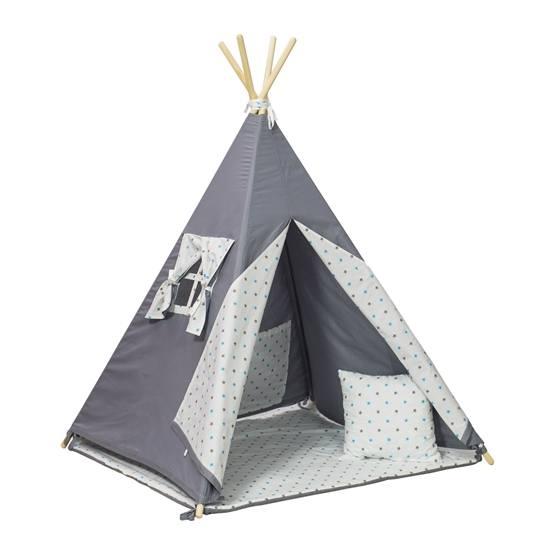 PQP - Wigwam Teepee-tält med matta och kudde - Grå/Blå Stjärnor