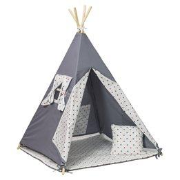 PQP - Wigwam Teepee-tält - Blå/Röda Stjärnor