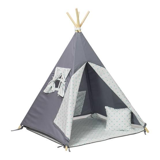 PQP - Wigwam Teepee-tält med matta och kudde - Turkosa Stjärnor