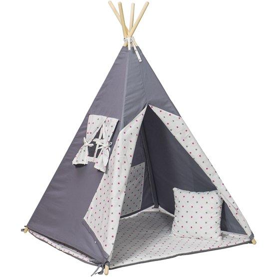 PQP - Wigwam Teepee-tält med matta och kudde - Grå/Rosa Stjärnor