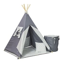 PQP - Wigwam Teepee-tält med korg - Grå/Blå Stjärnor
