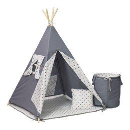 PQP - Wigwam Teepee-tält med korg - Blå/Röda Stjärnor