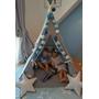 PQP - Wigwam Teepee-tält med matta, korg och kudde - Blå/Röda Stjärnor