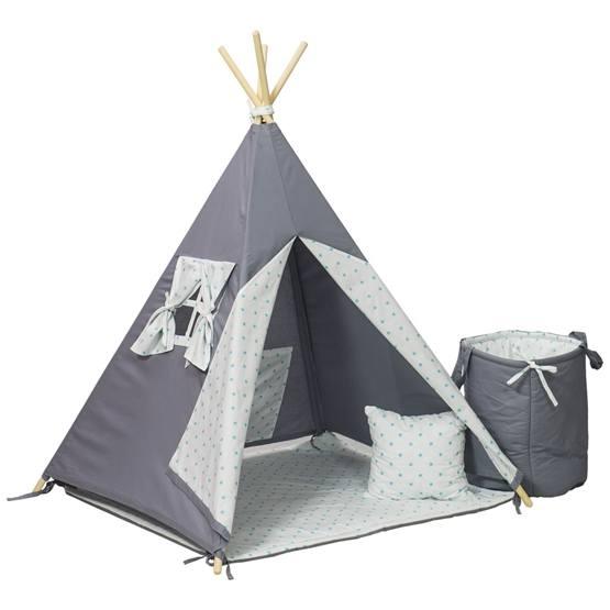 PQP - Wigwam Teepee-tält med matta, korg och kudde - Turkosa Stjärnor