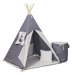PQP - Wigwam Teepee-tält med korg - Grå/Rosa Stjärnor