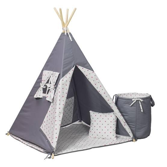 PQP - Wigwam Teepee-tält med matta, korg och kudde - Grå/Rosa Stjärnor