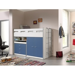 Loftsäng m. skrivbord och förvaringsskåp- Bonny 70 - Blå
