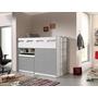 Loftsäng m. skrivbord och förvaringsskåp- Bonny 70 - Silver