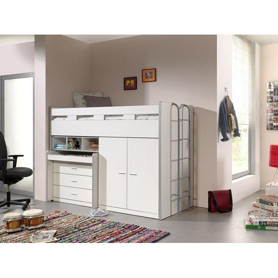 Loftsäng m. skrivbord och förvaringsskåp- Bonny 70 - Vit
