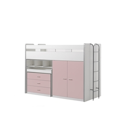 Loftsäng m. skrivbord och förvaringsskåp - Bonny 70 - Ljusrosa