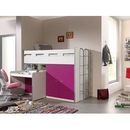 Loftsäng m. skrivbord och förvaringsskåp - Bonny 70 - Rosa
