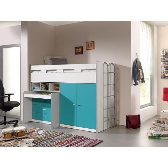 Loftsäng m. skrivbord och förvaringsskåp- Bonny 70 - Turkos