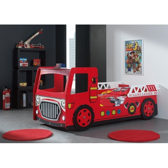 Enkelsäng - Brandbil - Röd - 90x200 Cm
