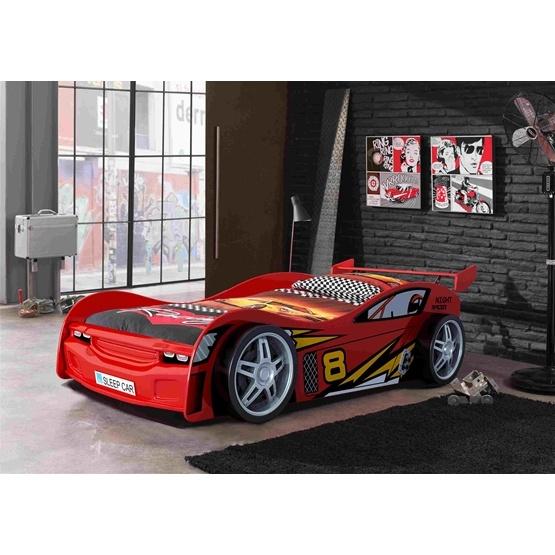 Enkelsäng - Bilsäng Night Racer 90x200 Cm - Röd