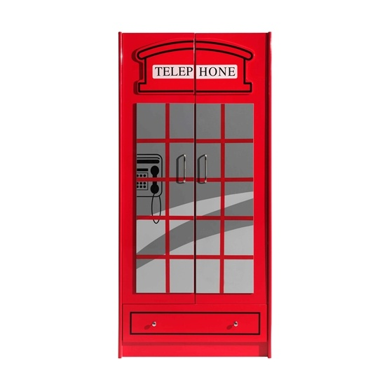 Garderob - 2 Dörrar London Buss - Röd