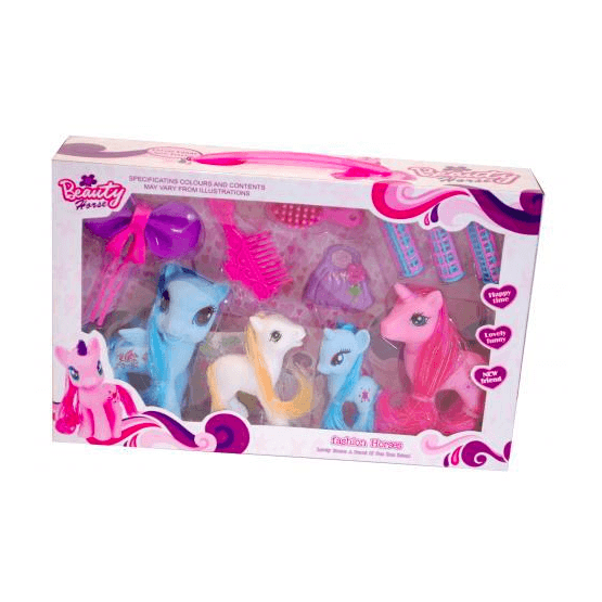 Beauty Horse, Ponny med tillbehör 4-pack