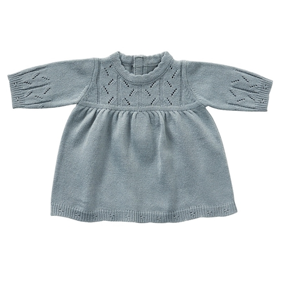byASTRUP, Dockkläder - Long Sleeve Dress Blue Knit 46-50 cm