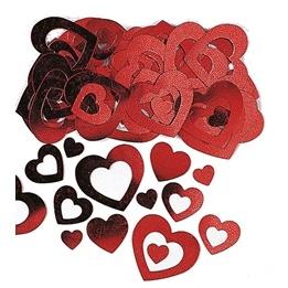 Konfetti, Hjärtan röd metallic, 14 g