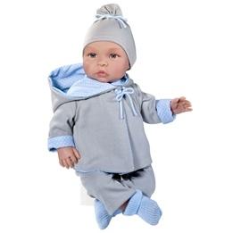 Asi, Babydocka Leo 46 cm med grå kläder