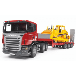 Bruder, Scania R-series Lastbil med CAT Bulldozer 3555 1:16