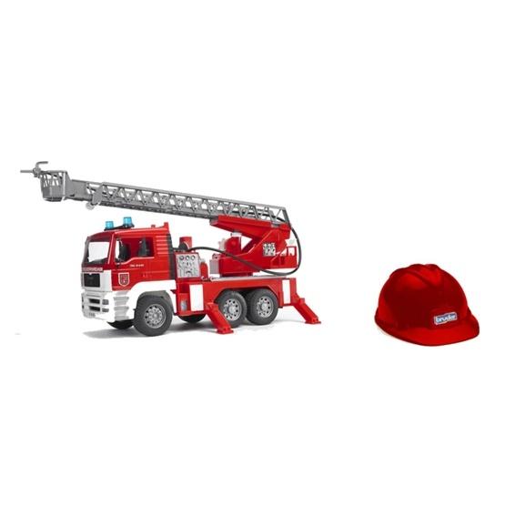 Bruder, MAN TGA Brandbil med vattenpump, ljud, ljus & brandmanshjälm