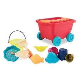 B.Toys, Wavy-Wagon Dragvagn med Sandleksaker Röd