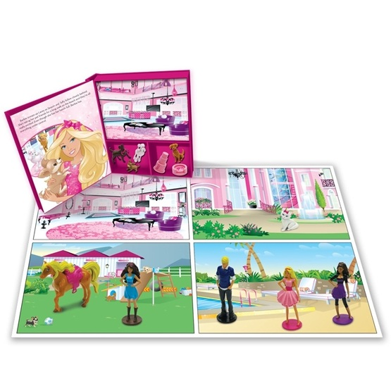 Barbie, Barbies flitiga dag - Sagobok med figurer & lekmatta