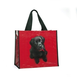 Catseye - Black Lab On Red Shopper