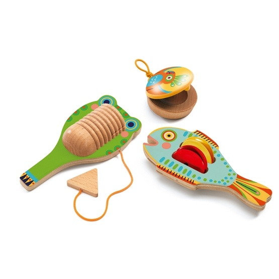 Djeco - Set Of 3 - Cymbal-Castanet-Guiro