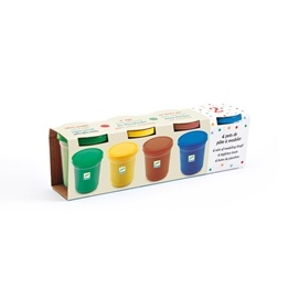 Djeco - 4 Tubs Of Play Dough - Plain