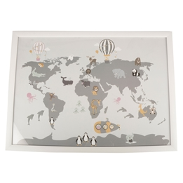 FORM Living, Tavla Världskarta djur 50x70 cm