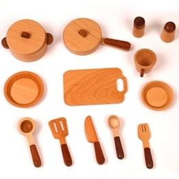 Woodi World Toy - Kastrullset I Trä Till Minikök För Barn 15 Delar