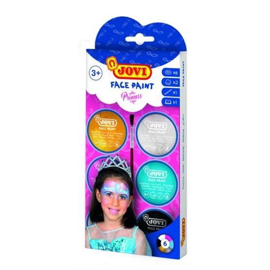 Jovi - Ansiktsfärg Prinsessor 6 burkar 8ml med pensel