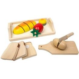 Woodi World Toy - Lekmat Bröd, Tomat, Ägg Och Kniv