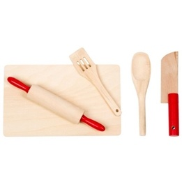 Woodi World Toy - Skärbräda Leksak Med Kavel, Sked, Kniv