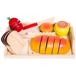 Woodi World Toy - Leksaksmat Skärbräda, Tomat, Brödskivor, Knivar