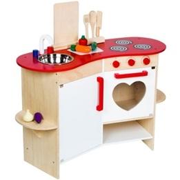 Woodi World Toy - Leksakskök Happy Med Tillbehör