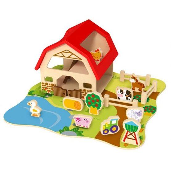 Tooky Toy - Bondgård Och Lekplatta I Trä Med Bondgårdsdjur Tooky Toy