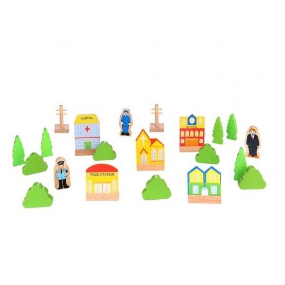 Tooky Toy - Hus, Träd Och Figurer Till Tågset