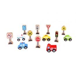 Tooky Toy - Vägmärken Och Bilar Till Tågbana