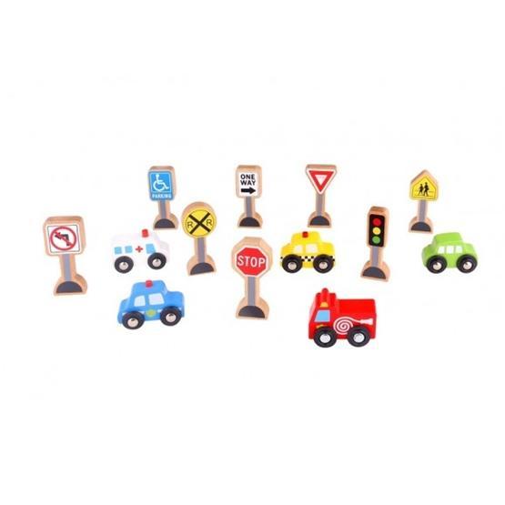 Tooky Toy - Vägmärken Och Bilar Tillbehör Till Tågset