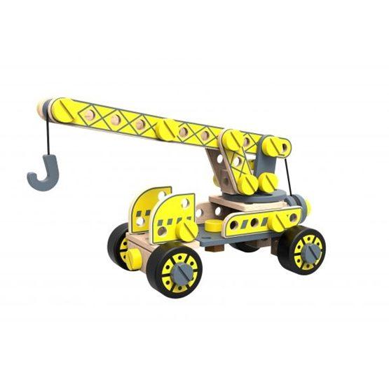 Tooky Toy - Leksaksbil Och Kranbilar 4 I 1 Leksak I Trä Tooky Toy