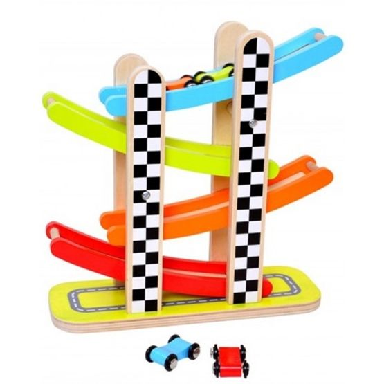 Tooky Toy - Bilbana I Trä Leksak Med Bilar Tooky Toy