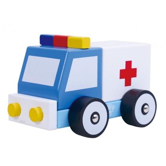 Tooky Toy - Leksaksbil Ambulans I Trä Tooky Toy