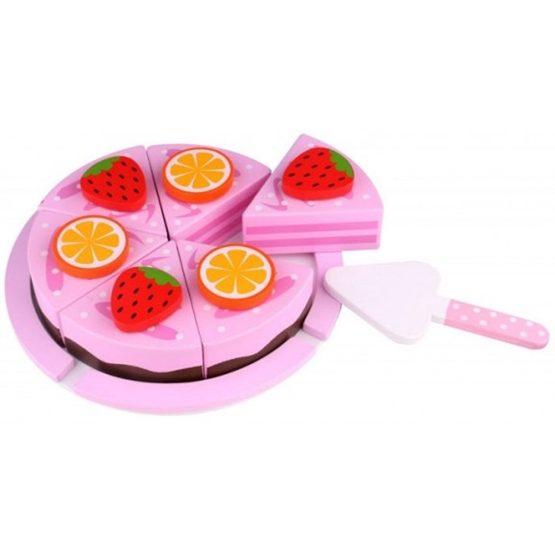 Tooky Toy - Delbar Leksakstårta Med Frukt I Trä Till Barnkök Tooky Toy