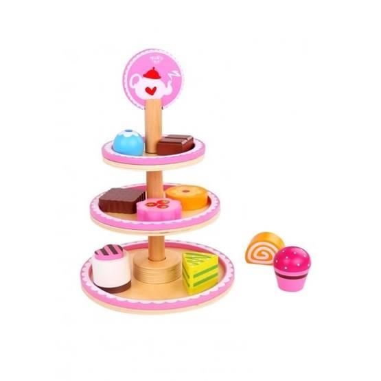 Tooky Toy - Kakfat Lekmat I Trä Tre Våningar, Dessert Tooky Toy